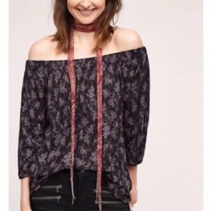 Anthropologie Deletta Purple Floral Top